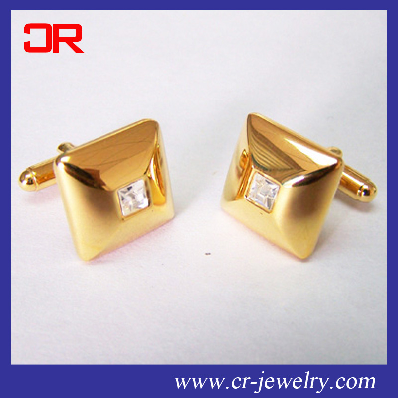 Simple design coppoer cuff link with crystal