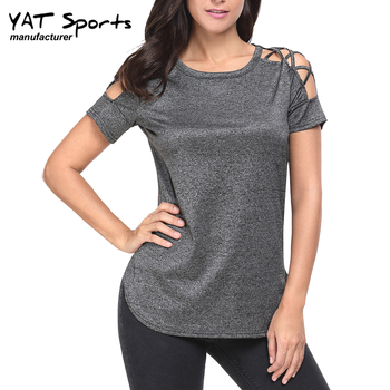 Latest fashion design wholesale small order dry fit Coolmax fitness tops short sleeve women yoga shirt