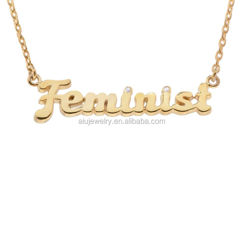 Customized 925 Sterling silver diamond feminist necklace