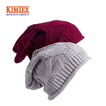 d77820d9d7e Custom Winter Baggy Oversize Knit Warm Hat Thick Soft Stretch Slouchy Beanie  Skully Cap