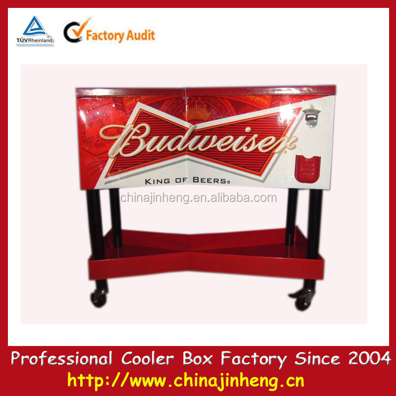 Patio Metal Beer Ice Cooler Cart,beverage Cooler Vending Trolley