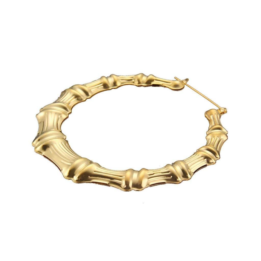 Clearance Deal! Hot Sale! Earring, Fitfulvan 2018 Large Bamboo Earrings Hip-Hop Gold Silver Ladies Hoop Hoops Bling Circle Mother's Day Gifts Earrings Jewelry (Gold)