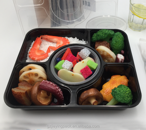 5+1 compartments bento box PP Storage disposable food grade plastic reusable container with bowl