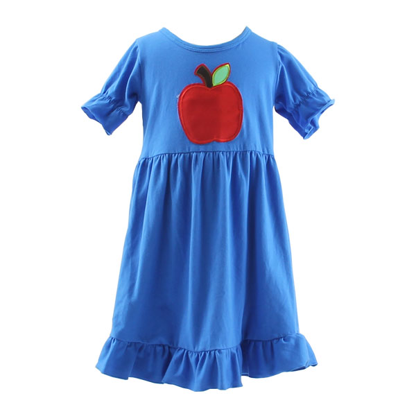 Kaiyo wholesale latest children frocks designs short sleeve apple applique ruffle summer dresses for kids