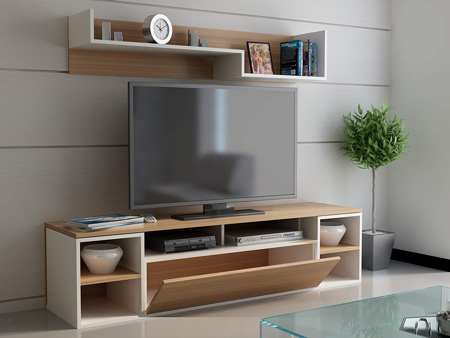 Get Quotations Lamodahome Tv Stand Unit Cream And Wooden Coloured Stylish Simple Parted Storage Multi