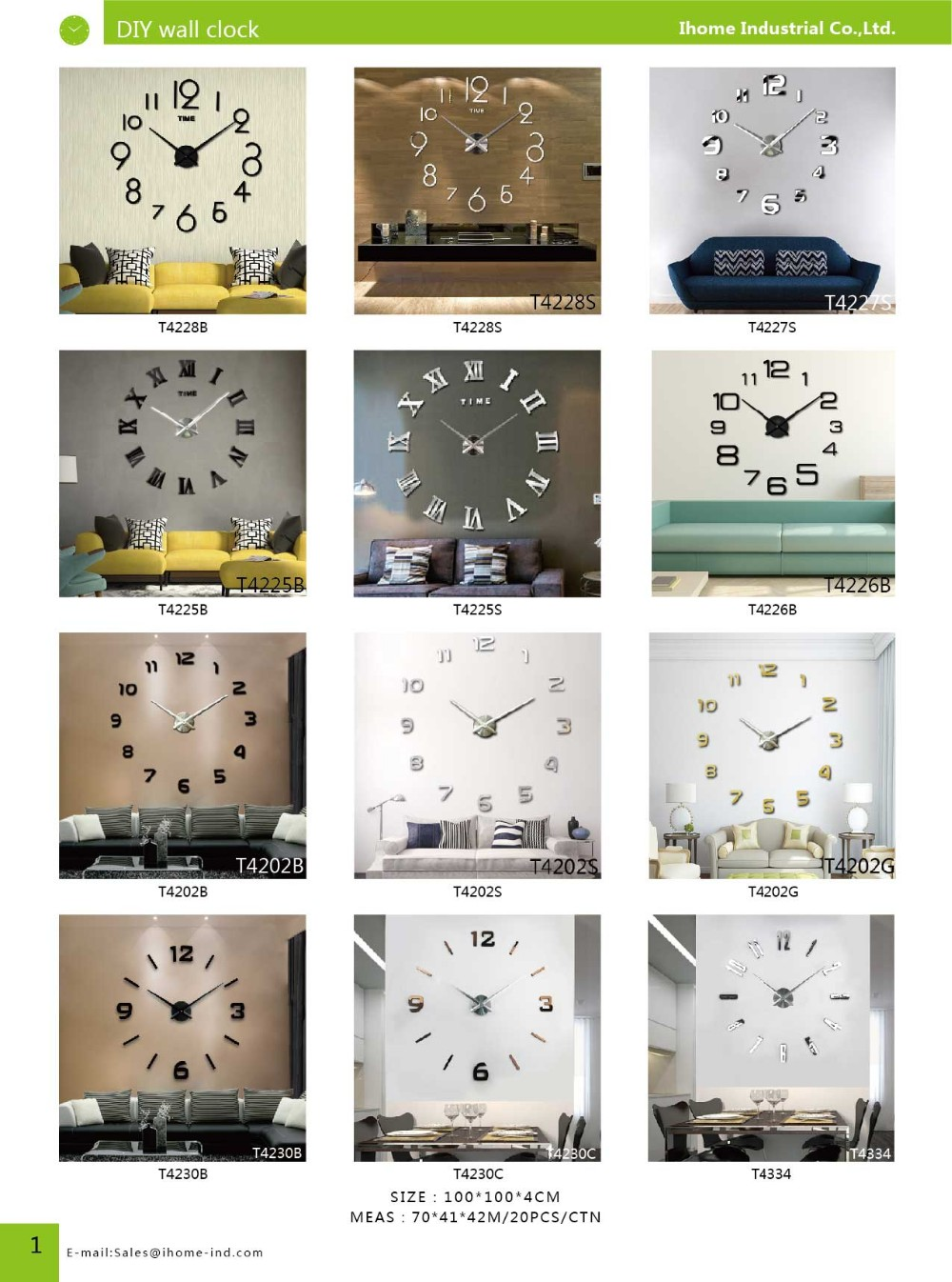 Factroy whole sell Big Roman numbers Fashion DIY wall clock for home decor