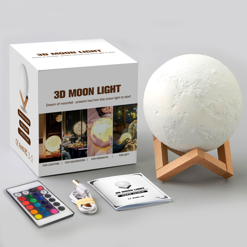 Open mold injection PVC Moon Lamp 3D Printing USB 16 colors LED Moonlight Luna Night Light Dimmable Touch Sensor