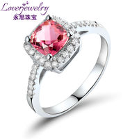 Luxury Cushion 6 mm 14 Kt White Gold 100% Real Diamond With Pink Tourmaline Rings Natural Stone Wholesale Jewelry RI31TOU