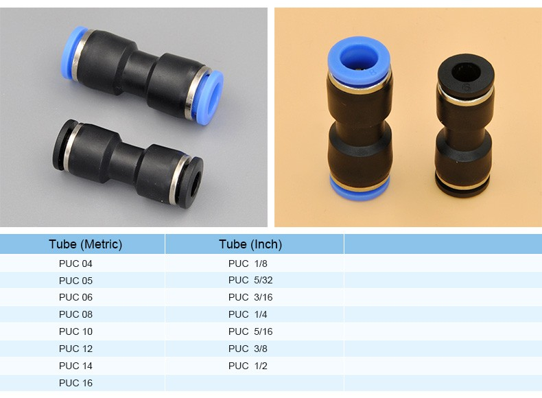 Quick connect couplings adjustable straight round tube press fitting pu tube fittings