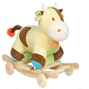 2019 funny baby kids toys wooden rocking horse with wheels