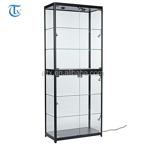 Luxury high end tempered glass round jewelry showcases display cases