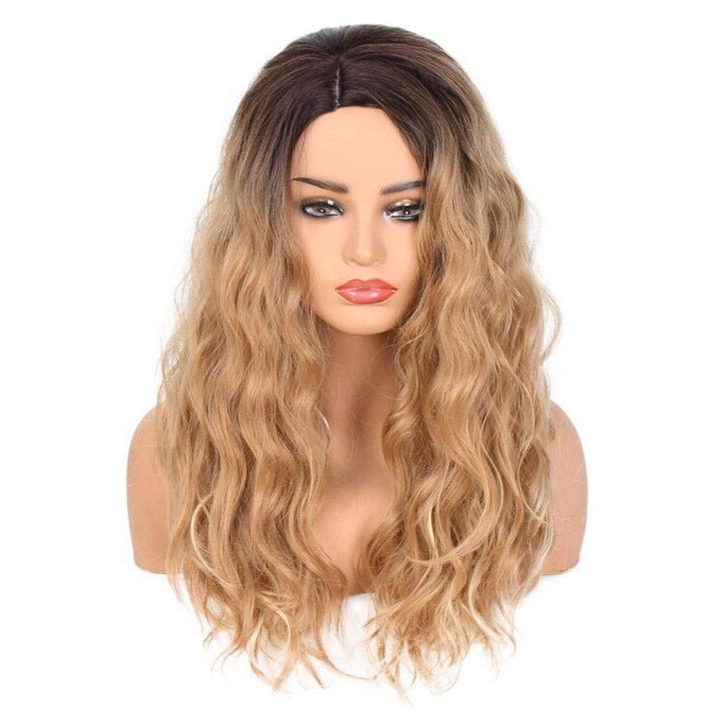 Emubody Women Fashion Lady Big Wave Gradation Golden Wig Curly Hair Gradient long curly wig Long Curly Wig Heat Resistant Synthetic Cosplay Wig Full Wig for Women Party Wigs