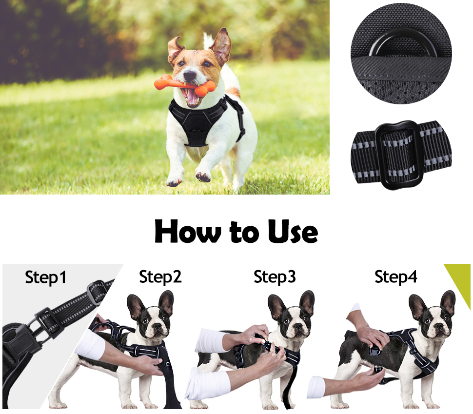 Heavy Duty Large Dog Padded Harness Reflective Nylon No-Pull Harness for Large Dog Running