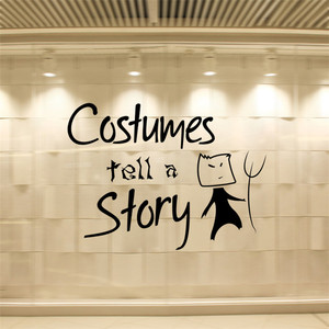 halloween cartoon Costumes tell a story window glass Wall Sticker home shop decor pvc Vinyl Removable Wall glass decals