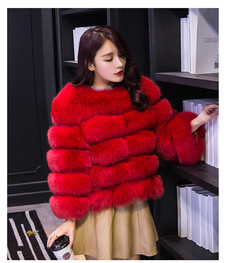 China manufacturer ladies <strong>fashion</strong> <strong>winter</strong> warm thicken <strong>coat</strong> S-XXX Red faux fur jacket best selling online shop women fox fur <strong>coat</strong>