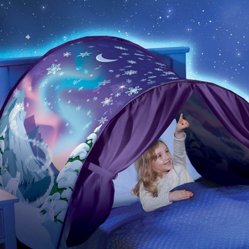 Kids Dream Tents With Light Baby Pop Up Bed Tent Unicorn Snowy Foldable Playhouse Comforting At Night Sleeping Outdoor Camp Tipi (11)