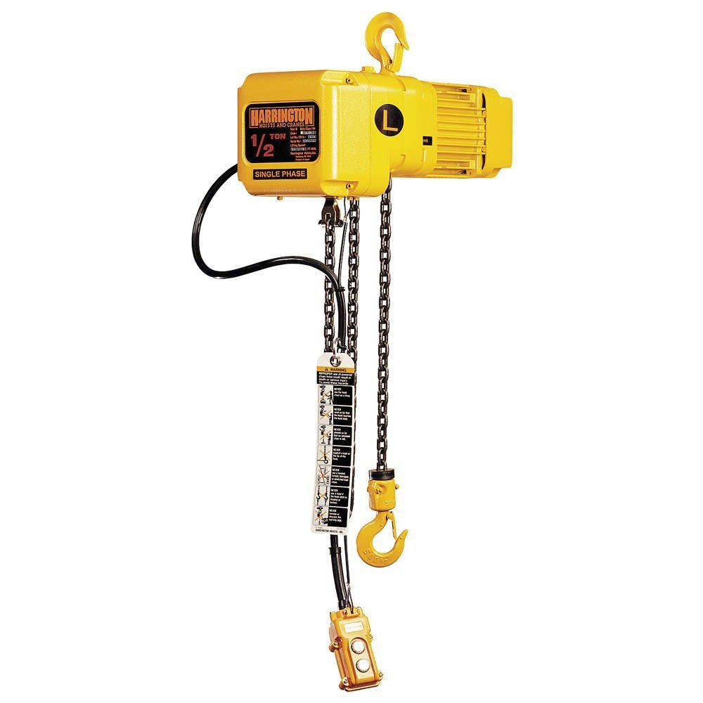 Harrington SNER030C-20 Series SNER Single Phase Electrical Hook Mount Chain Hoist, Single Common Speed, 3 Tons Capacity, 20' Lift