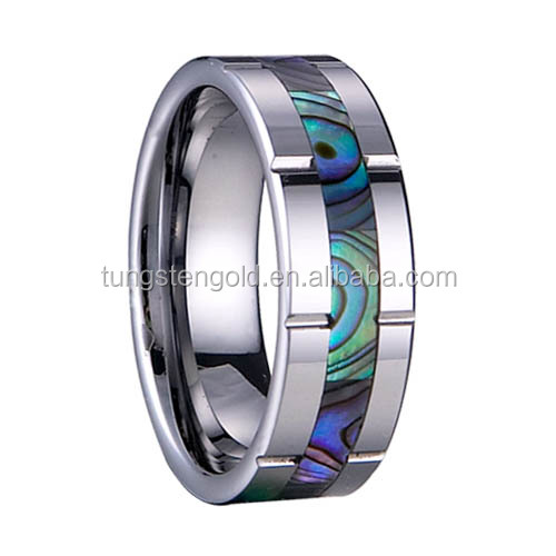 High Quality Jewelry Mens Tungsten Carbide Ring with Shell/Conch Inlaid