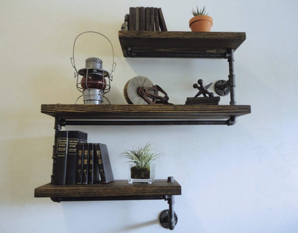 industriellen urbanen stil verzinktem stahlrohr holz drehstuhl regal regale in. Black Bedroom Furniture Sets. Home Design Ideas