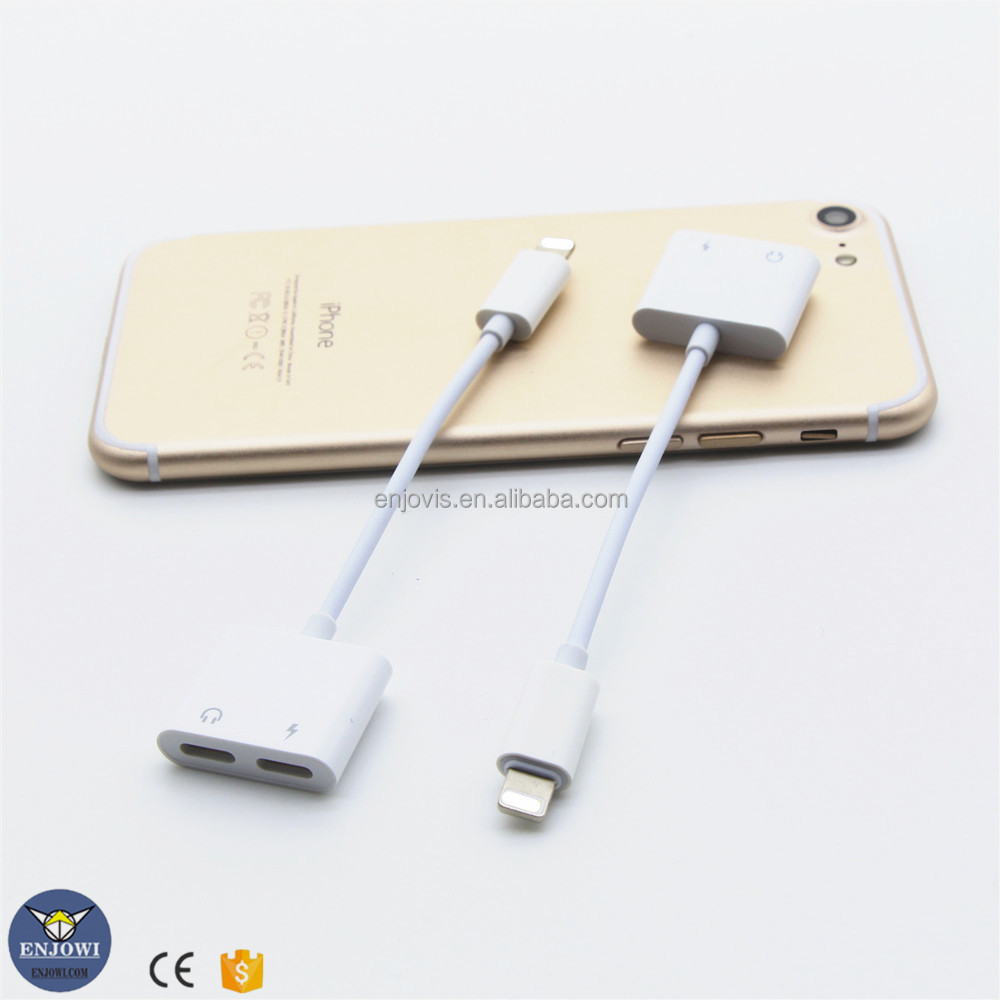 ENJOWI 2 in 1 Converter Pengisian earphone cepat mengisi kabel untuk iPhone 7/7 plus earphone adapter