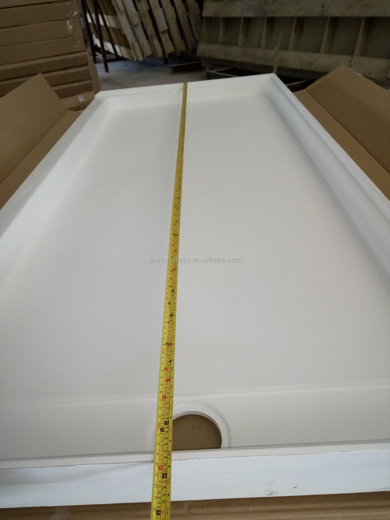 "72""x34"" Cultured Marble Trench Drain Shower Pan Cultured Marble Shower Base"