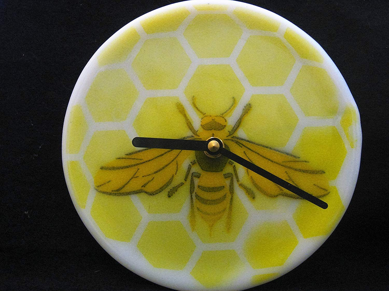 Round Honey Bee Clock, Bee Wall Clock, Honeycomb Clock, Round Wall Clock, Beekeeper Gift, Gift for Teacher, Kids Room,