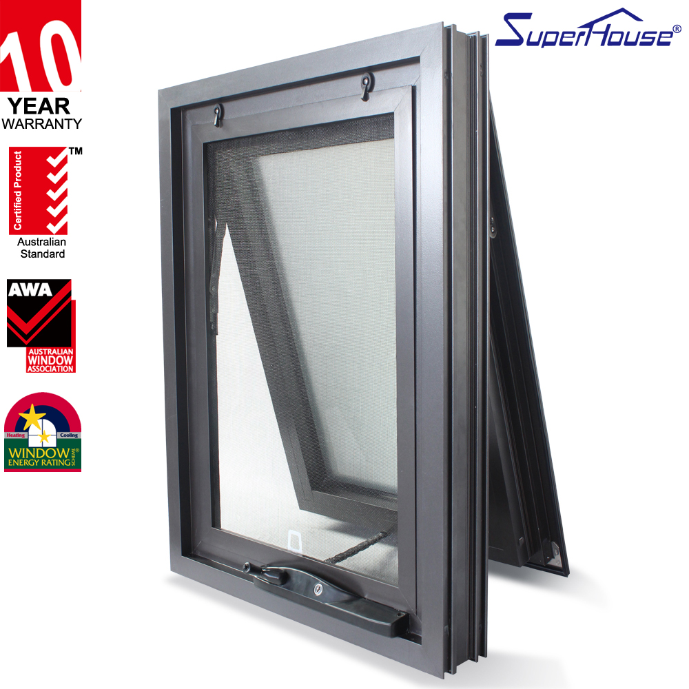 Superhouse AS2047 good price Black Aluminium fire rated Awning picture glass Window In Bedroom with fly screen