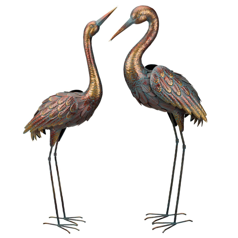 Copper Patina Crane Pair Metal Garden Statues Bird Sculpture Heron Rainbow Color