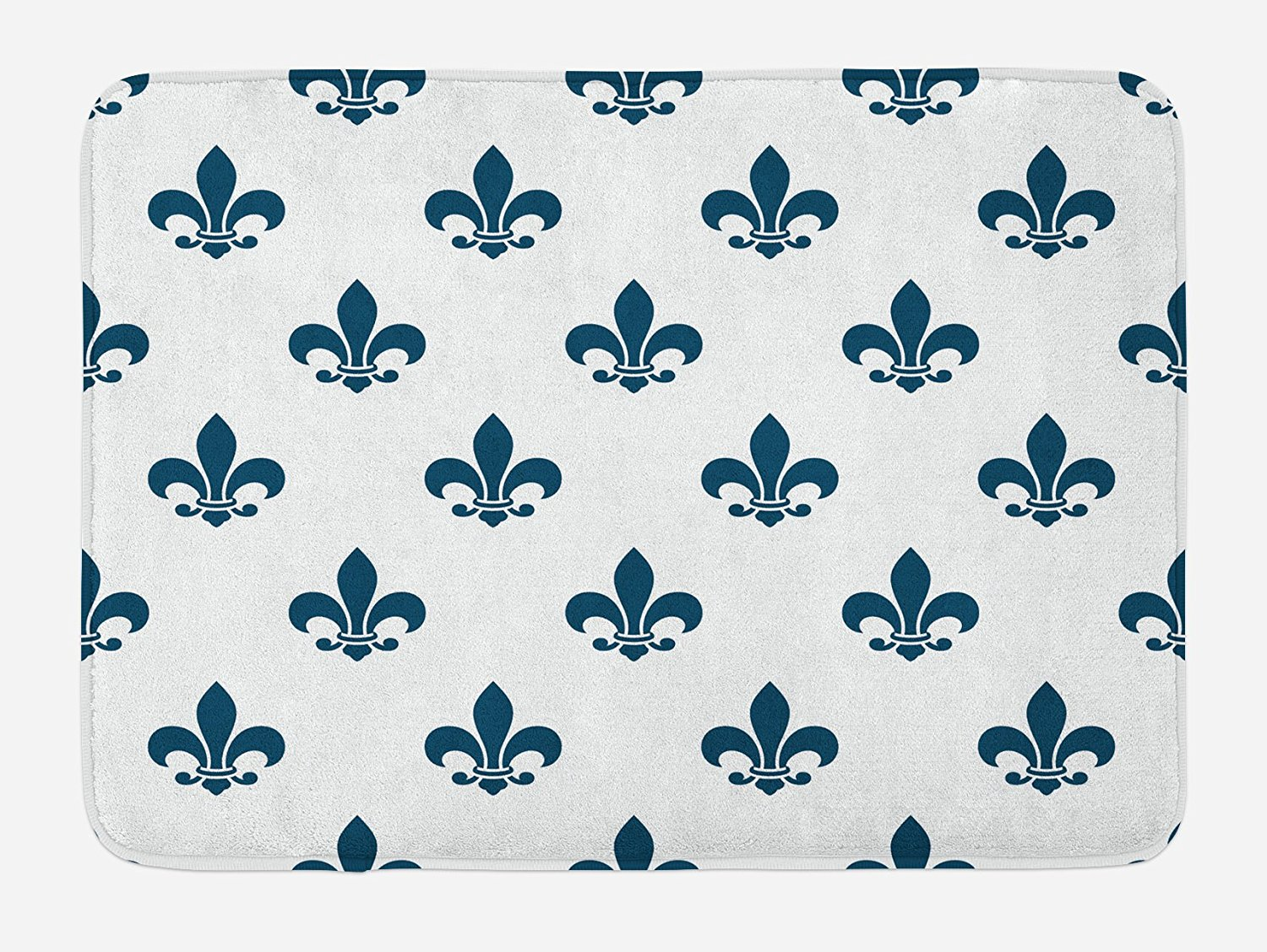 Fleur De Lis Bath Mat by Lunarable, Illustration of Fleur-de-Lis Motif Lily Shades Ornament Minimalistic, Plush Bathroom Decor Mat with Non Slip Backing, 29.5 W X 17.5 W Inches, Cream Night Blue