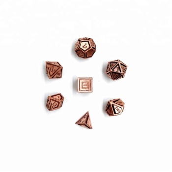 MBW CNC Machining Caged Copper DND Polyhedral Custom Metal Game Dice set