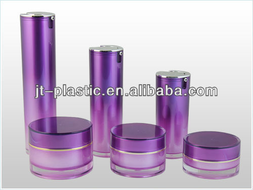 Purple Acrylic Round Lotion Bottle For Cosmetic Packaging
