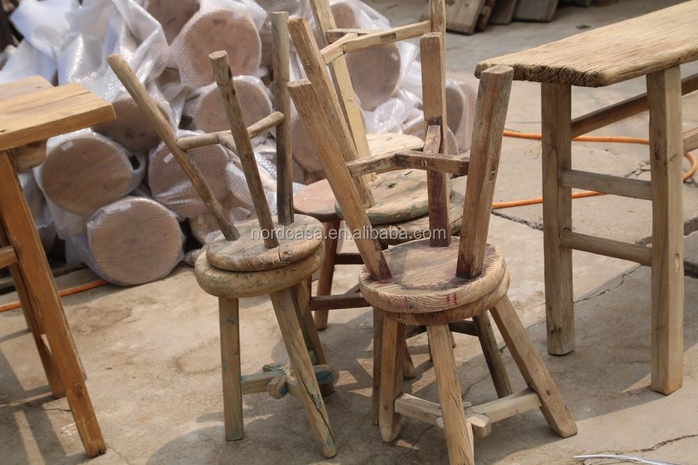 Naturale vecchio pino rustico sgabello in legno piccolo rotondo