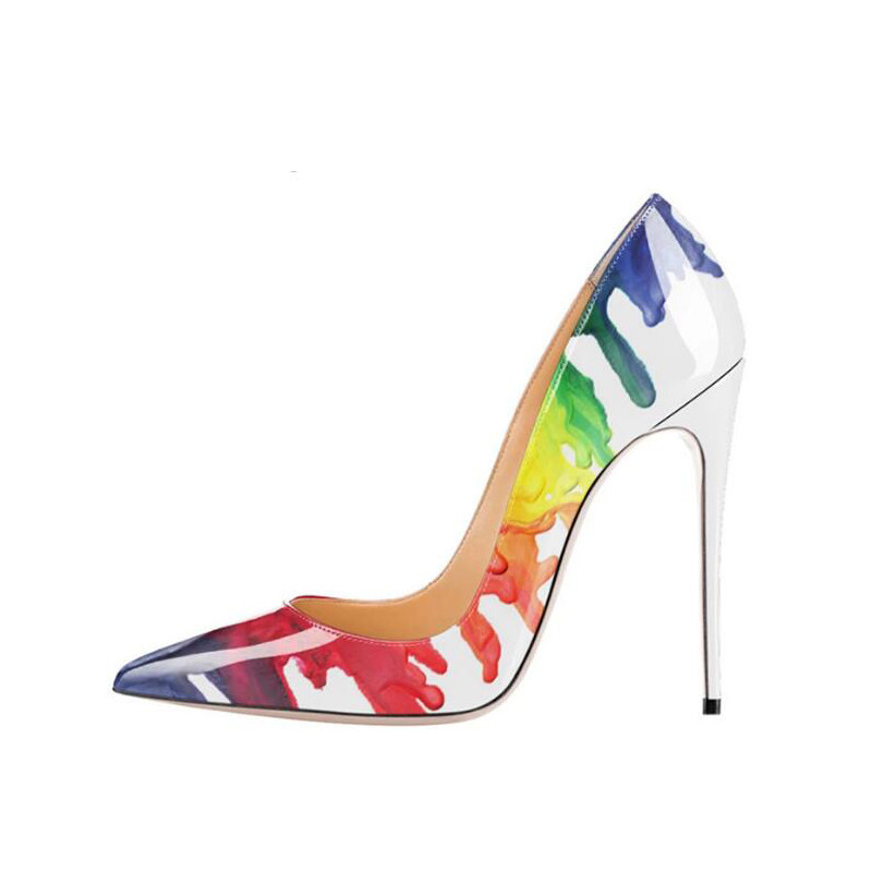 Colorful Gradient Paint Stiletto shoes Women Pump shoes Party Shoes patent leather 12cm Plus size High <strong>Heel</strong> Pointed Toe QP014