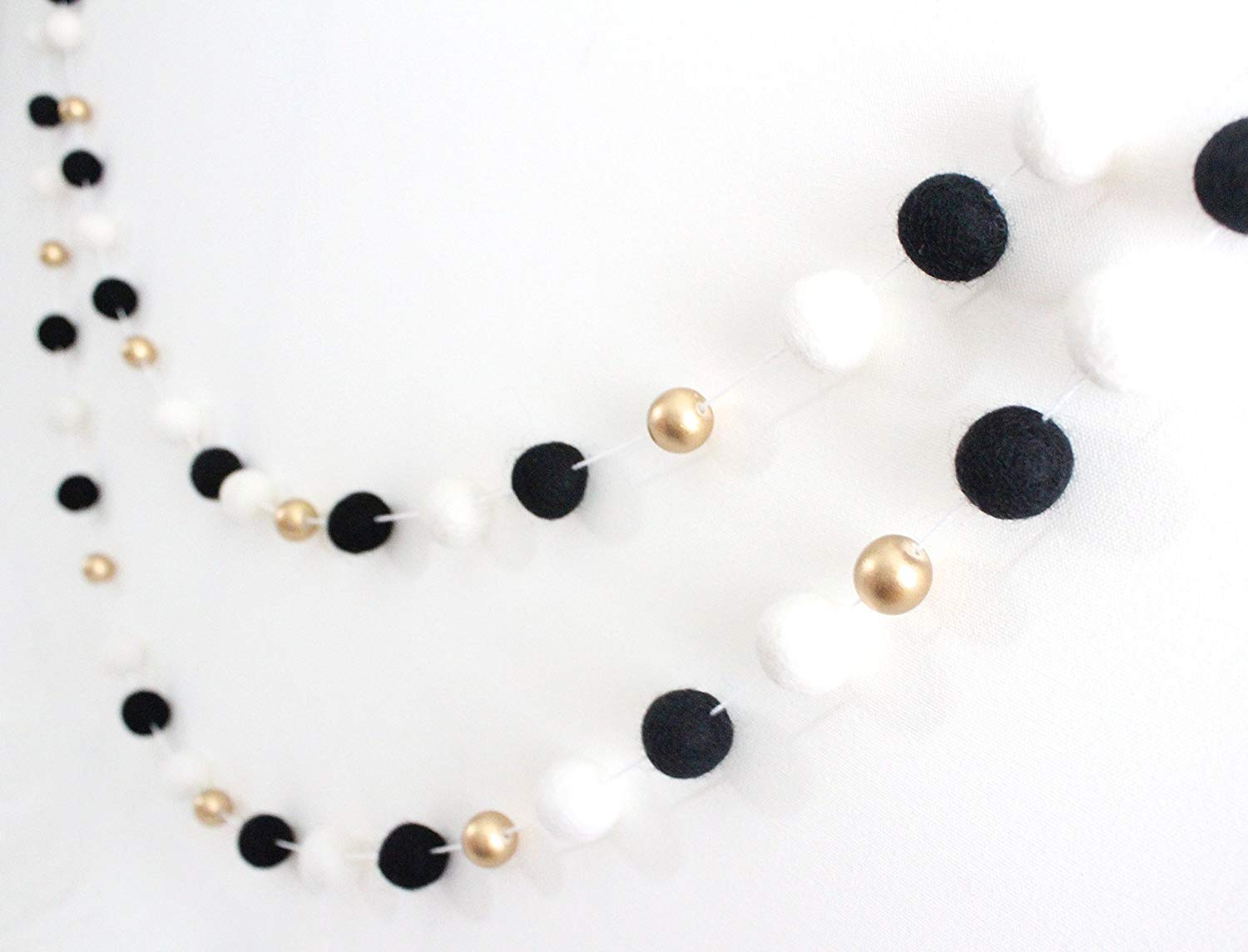 """Monochrome & Gold"" Handmade Felt Ball Garland by Sheep Farm Felt- Black White and Gold Pom Pom Garland, Wool and Wood Felt Ball Metallic garland. 2.5 cm balls."