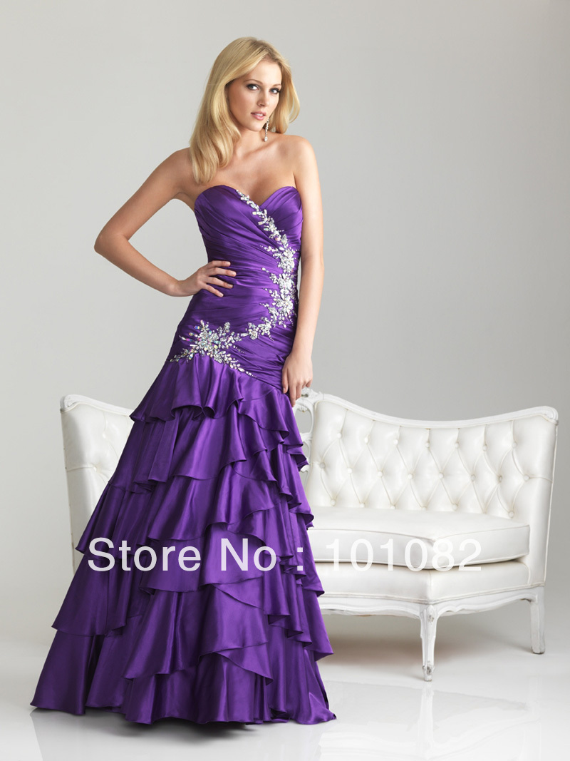 Sweetheart Purple Turquoise Layers Soft Satin Beadings ... Lace Prom Dresses 2013