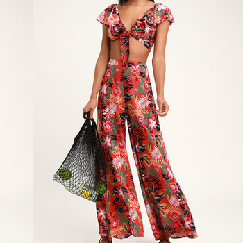 PASSPORT TO PARADISE  TROPICAL PRINT TWO-PIECE JUMPSUIT