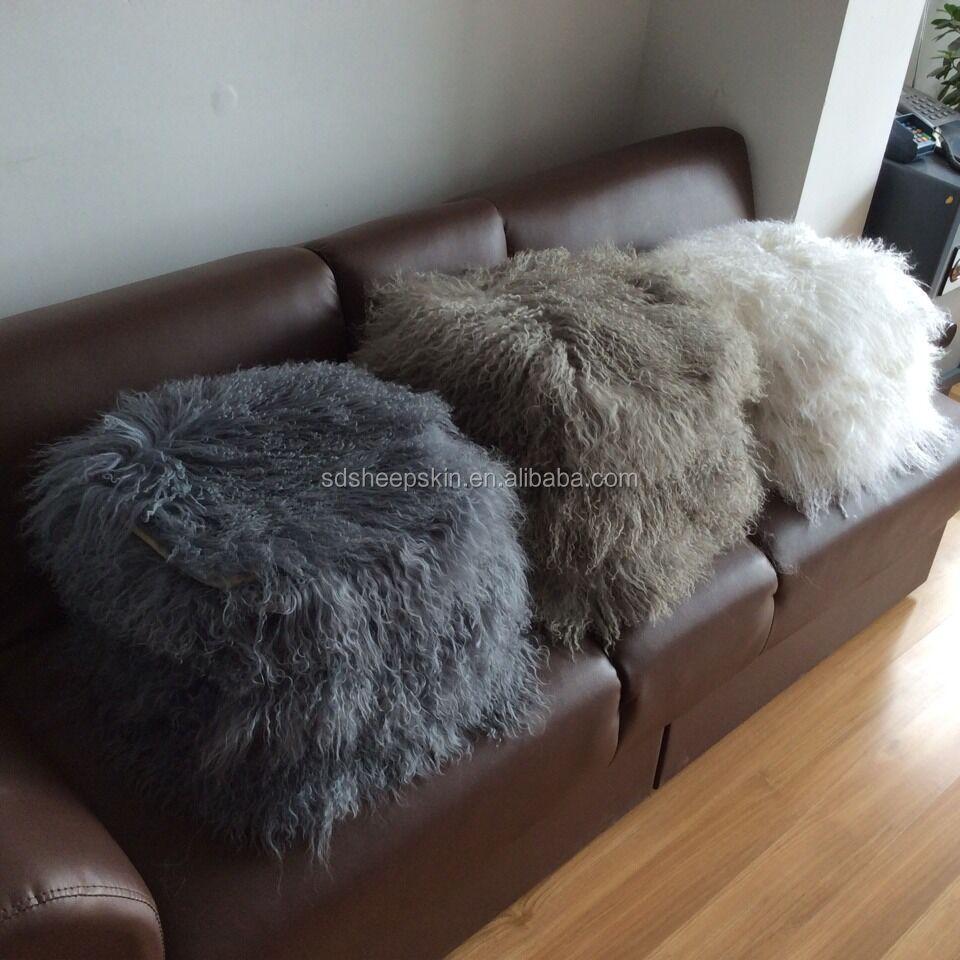 colorful sheep mongolian fur pillow plush long round pillows