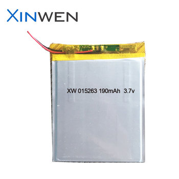 XW 015362 190mAh 3.7v rechargeable 1mm ultra thin lipo battery