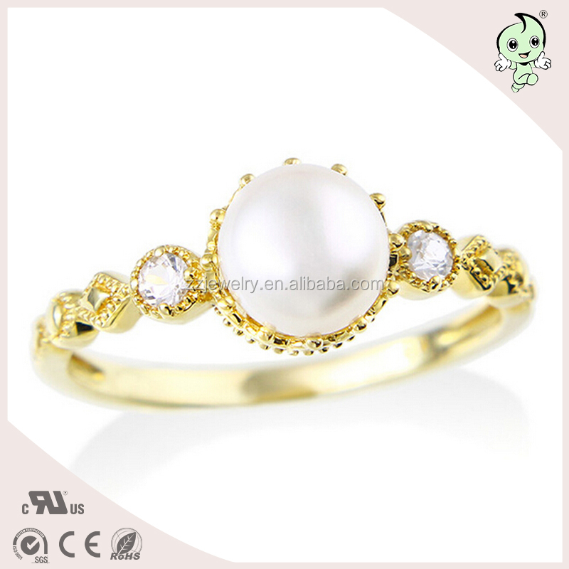 Embedded pearl14k/18k gold plated S925 sterling silver ring