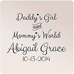 """30""""x24"""" Personalized Name Birthdate Custom Daddy's Girl and Mommy's World Wall Decal Sticker Art Mural Home Decor Quote Baby Nursery Wall Decal Sticker Art Mural Home Decor Quote Customized (Black)"""