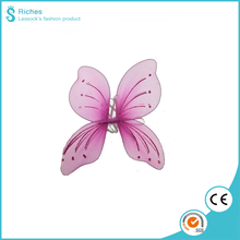 Yiwu factory pink butterfly wing with glitter 24*20 cm kids polyester fairy wing