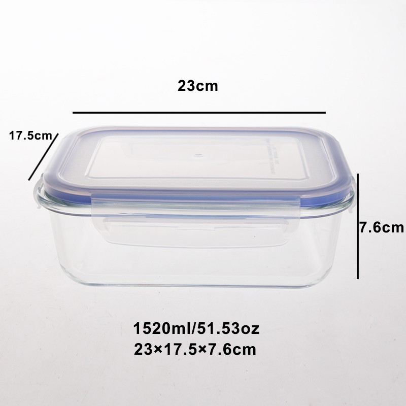 Heat resistant high borosilicate glass food storage container