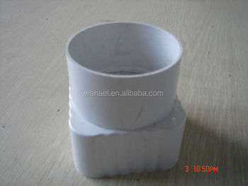 Outlet From 75mm Round Pipe To Square Pipe Pvc Rain Water