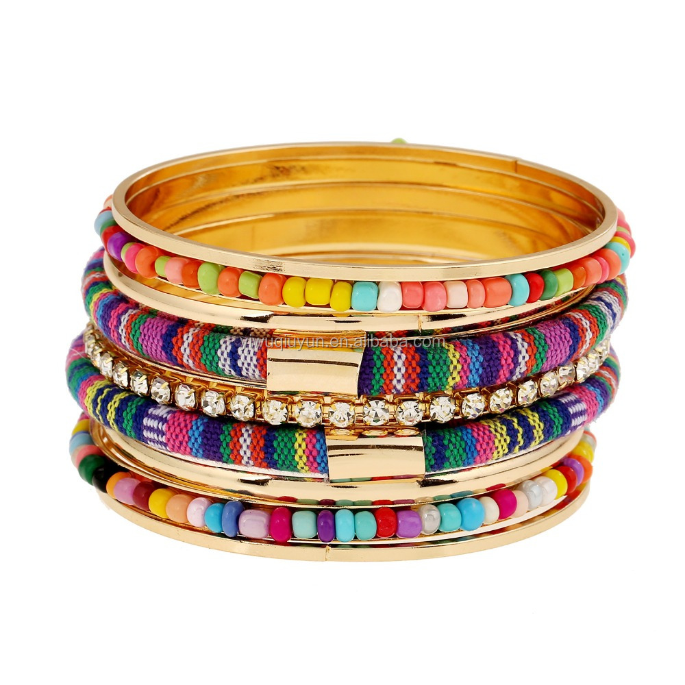 2016 Fashion Retro Beads Braid Big Gold Plated Vintage Multilayer Wide Bohemian Bangle