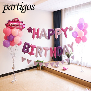 Happy Birthday Balloons alphabet letters hanging Golden Silver Pink Blue with star balloons Birthday Party Decoration