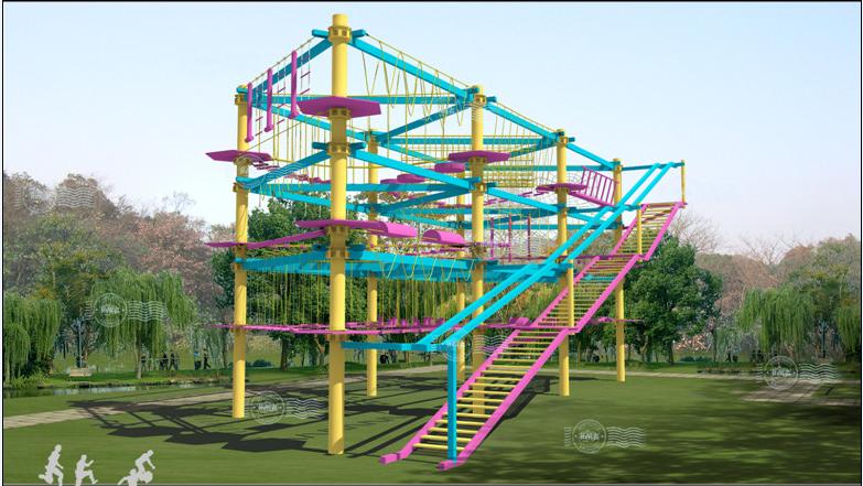 Klettergerüst Mit Seilen : Vergnügungspark erwachsene seil klettern klettergerüst