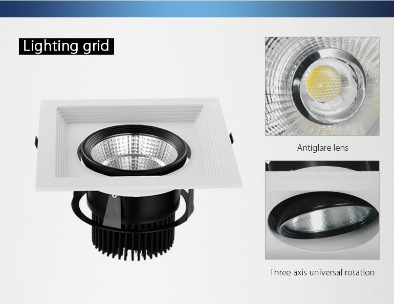 Led Recessed Grille Light Ra 90 Aluminium Housing Embedded Cob25w ...