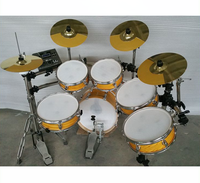 digital drum kit with dual kick pedal, Ride double touch off ended sound electric drum set, electronic drum in golden color