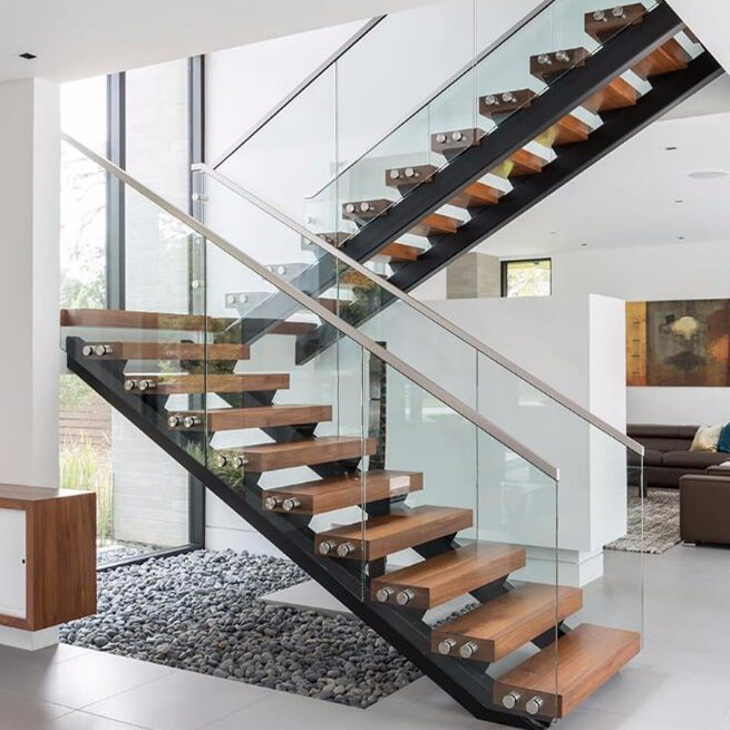 Awesome Modern Style Double Stringer Solid Wood Open Riser Stairs Staircase