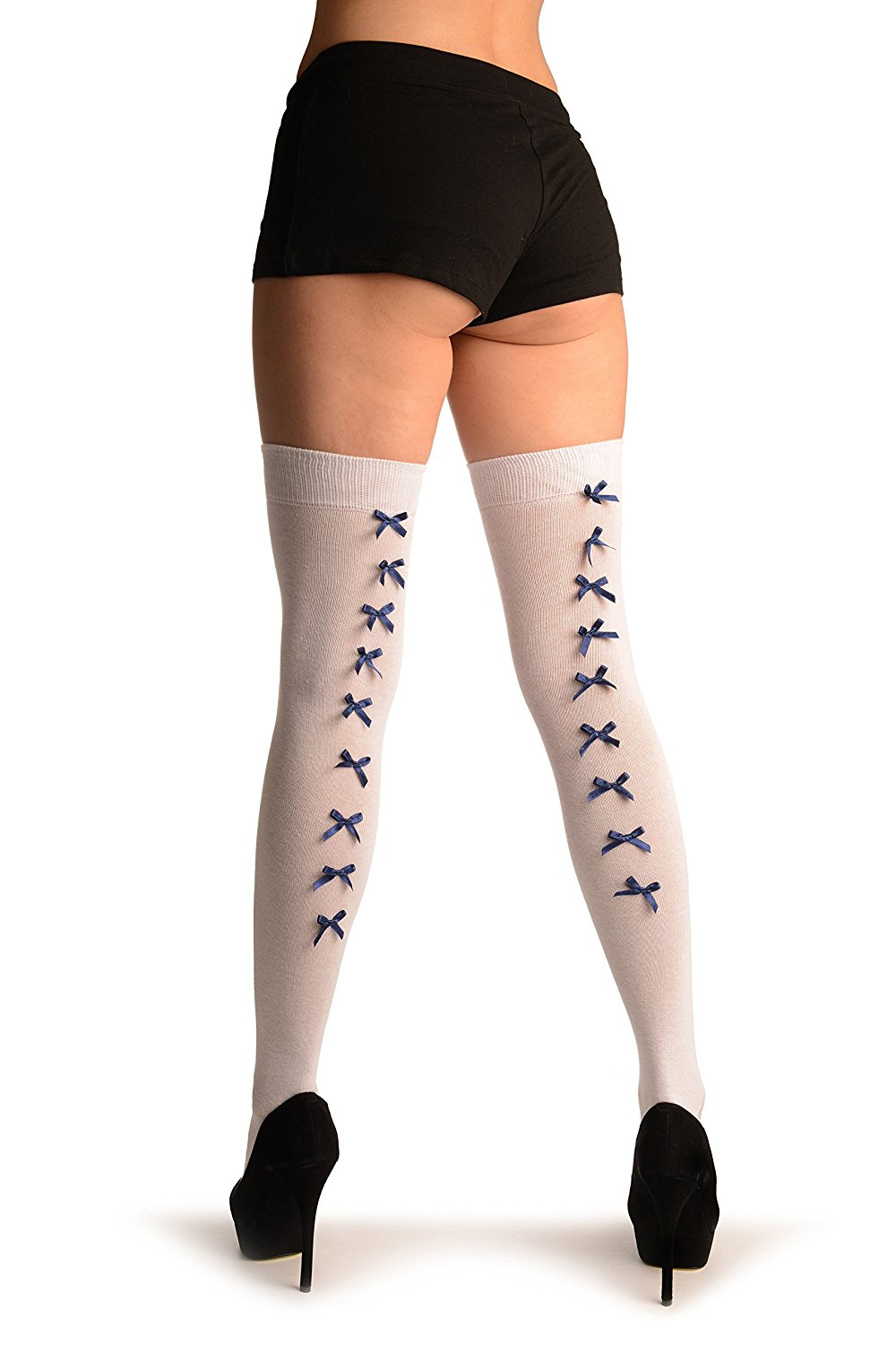 7f6d6a4d8c3 Get Quotations · White With Dark Blue Satin Bows At The Back - Over The Knee  Socks